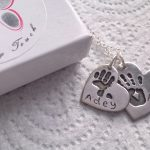 Double handprint necklace with names