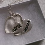 Double fingerprint necklace with handwriting
