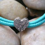 Heart shaped Ink Fingerprint bead to fit pandora
