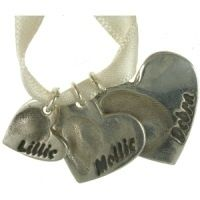 Triple trio fingerprint necklace with cascading heart  jewellery charms