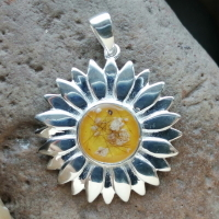 Sterling silver Sunflower pendant with hair or ashes