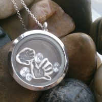 2 Floating Handprint Charms in memory locket