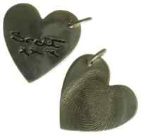 Double sided handwriting fingerprint Charm