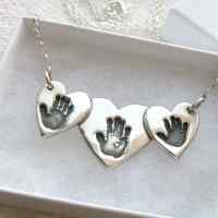 Triple Handprint Heart necklace