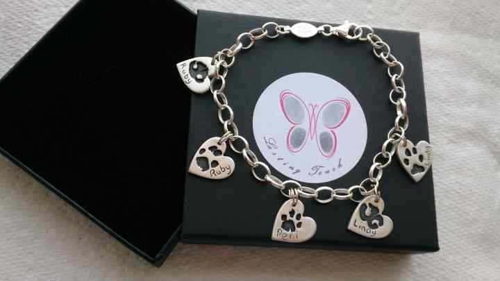 Bracelet with 5 hand foot or paw print charms