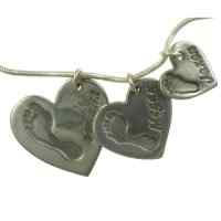Set of 3 Cascading Hand or footprint Heart Charms