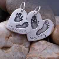 Double Hand and footprint Necklace charm set