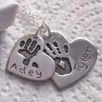 Double Handprint Jewellery Necklace charm set