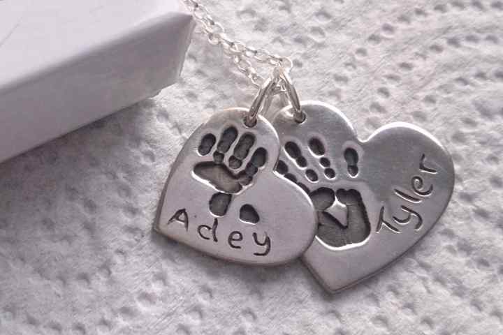 Double handprint jewellery necklace charm set aloadofball Gallery