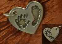 Double sided handwriting hand  footprint Charm