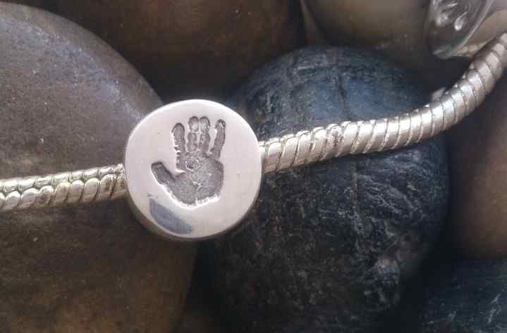 Footprint or Handprint Circle Bead (fits pandora)