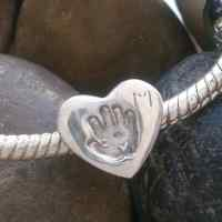 Footprint or Handprint heart Bead (fits pandora)