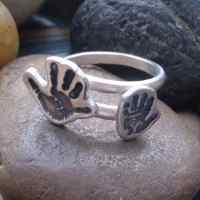 Adjustable crossover ring 2 tiny Handprint Charms