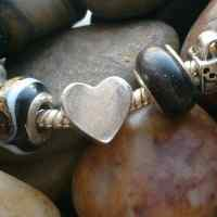 Fingerprint heart Bead (fits pandora)