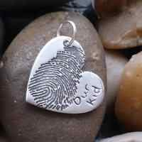 Large Ink Fingerprint Heart Necklace