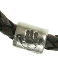 Men's chunky Handprint Bead on Leather bracelet