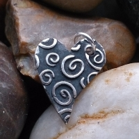 Sterling Silver Swirls heart charm