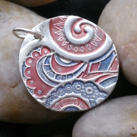 Red and Blue sterling silver circle pendant