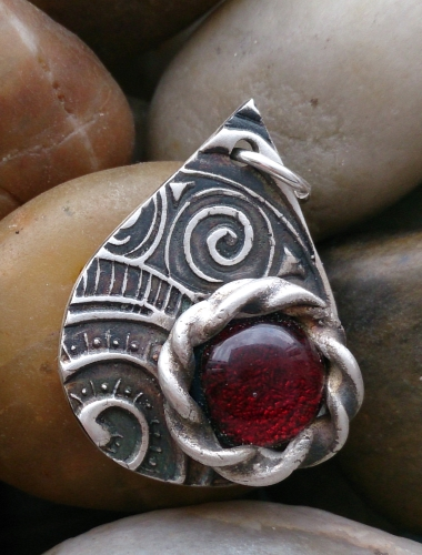 Fine Silver Swirls tear pendant with red glass