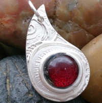 Fine Silver Swirl pendant with red glass