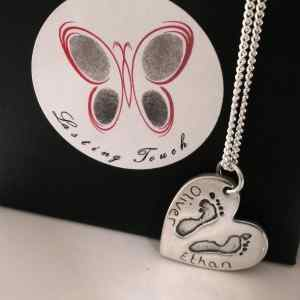 Foot or Handprint Jewellery for 2 sibling prints