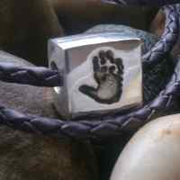 Handprint or footprint Square Bead (fits pandora)