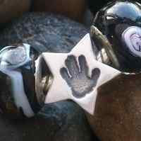 Footprint or Handprint star Bead (fits pandora)